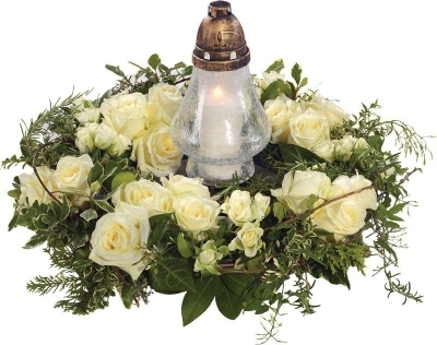 White Rose Wreath and Lantern.