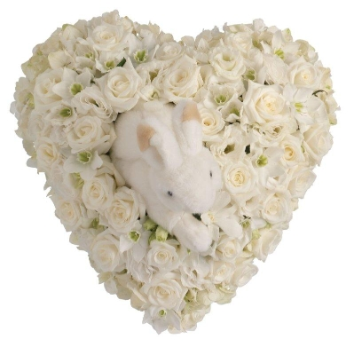 White Rose and Orchid Heart with Rabbit.