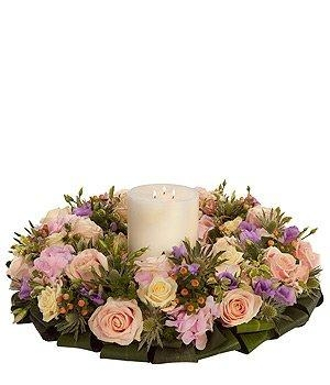 Pastel Wreath and Candle.