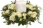 White Rose Wreath and Candle.